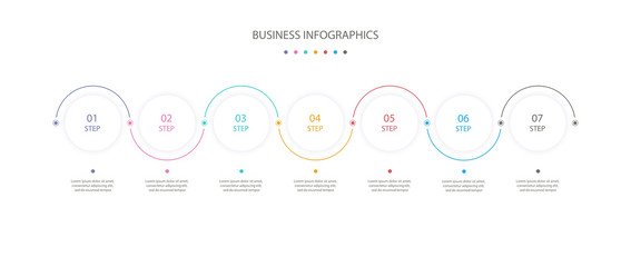 Circles infographics design template with 7 options or steps. Infographics for business concept, process diagram, presentation, workflow layout. Vector linear infographic element. Vector eps 10