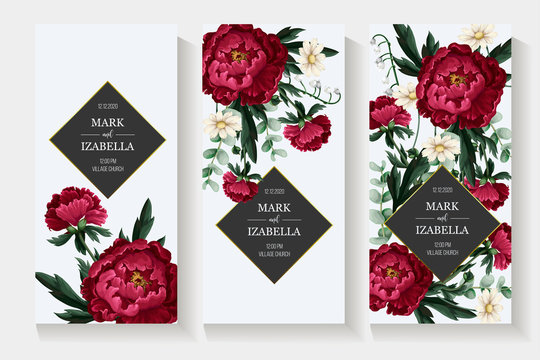 Wedding invitation with burgundy . peonies. Vector.