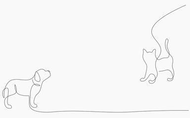 Dog and cat animal silhouette, cute pet vector illustration