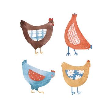 Cute watercolor rustic chicken hen bird illustration set for children print