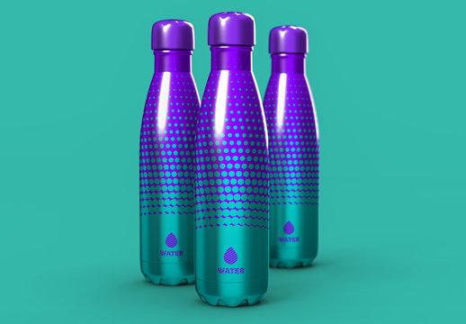 Aluminum Vacuum Bottle Set Mockup