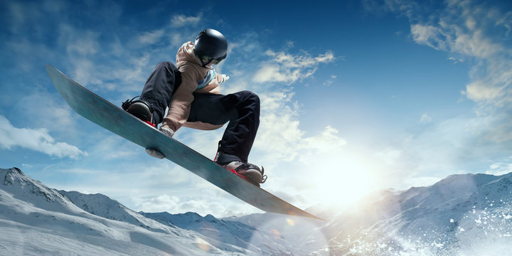 Snowboarder in action. Extreme winter sports.