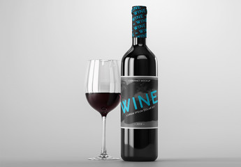 Red Wine Bottle and Glass Mockup