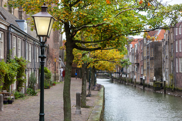 Lamppost and Canal houses in Dordrecht in the Netherlands