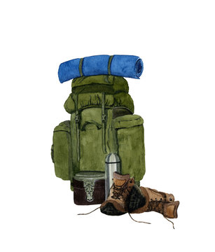 Picture of a tourist backpack hand drawn in watercolor  isolated on a white background. Watercolor illustration