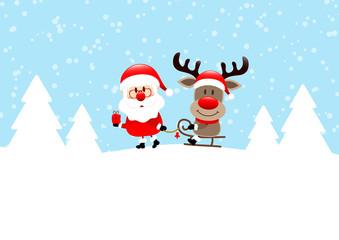 Wall Mural - Weihnachtsmann Zieht Schlitten Mit Rudolph Im Wald Blau