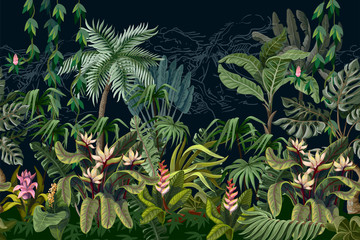 Seamless border with jungle trees and flowers. Vector.