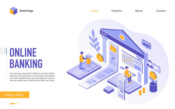 Online banking landing page vector template. Internet money management system website homepage interface layout with isometric illustration. E banking service, fintech web banner 3D concept
