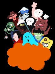 Hand draw Halloween theme with cute monster on black background and has blank space for add texts, pictures.