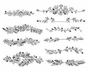 Decorative Hand-drawn Floral Dividers Vector Set