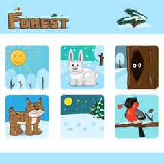 Winter forest set 2. Vector Illustration