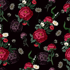 Seamless pattern with burgundy peonies. Vector.