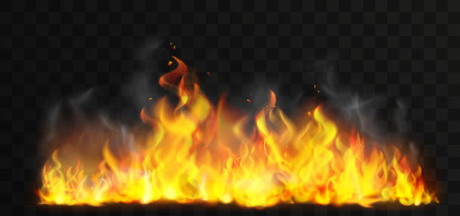 Raging fire realistic vector illustration. Dangerous phenomenon, firestorm isolated on transparent background. Natural disaster, hell decorative design element. Hot blaze, wildfire with smoke