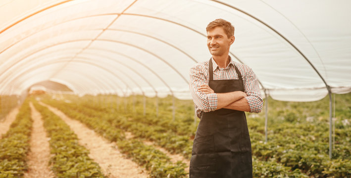 Confident farmer in large greenhouse