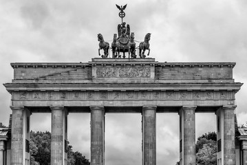 Beautiful black and white view of the upper part of the Brandenburg Gate in Berlin, Germany