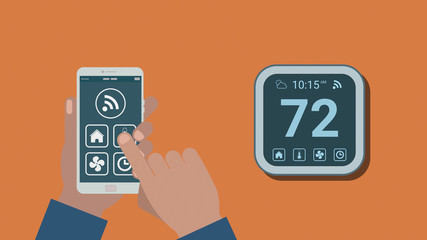 remote control with a smartphone app of a smart thermostat, concept of internet of things and home automation, flat cartoon style.