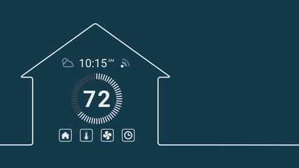 house outline with a home assistant interface, thermostat. Concept of internet of things, copy space.