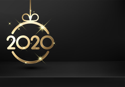 Happy New Year 2020 black card with gold abstract Christmas ball on transparent backdrop.