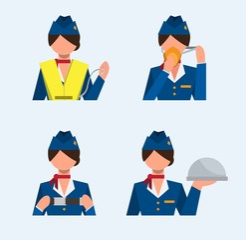 flight attendant icon set, safety instructions, flat illustration vector