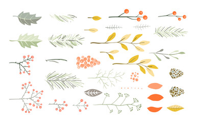 Christmas or New Years Vector brushes set for holiday graphics. Pine fir tree branches, florals, berries, pines and cones, leaves.