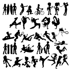 Poster Chambre d enfant Silhouettes of athletes and sportspeople