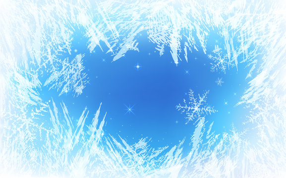 Frost pattern background. Frozen texture in winter (vector ice crystals) with snowflakes