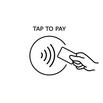 Contactless payment, credit card and hand tap pay wave logo. Vector wireless NFC and contactless pay pass