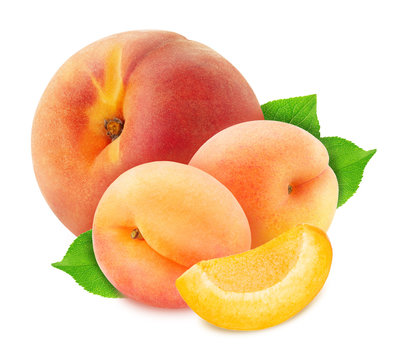 Colourful composition with fruit mix - peach and apricot isolated on a white background with clipping path.
