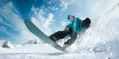 Photo sur Aluminium Glisse hiver Snowboarding.
