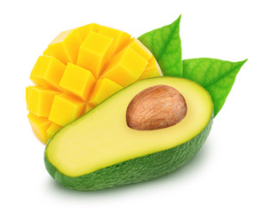 Composite image with halved avocado and curved slice of mango isolated on a white background.