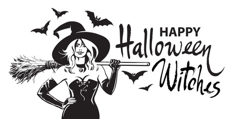 Happy halloween witches comic hand drawn lettering, beautiful sexy witch holding broomstick surrounded by bats. Sketch style vector illustration.