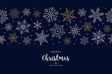 Wall Mural - Christmas snowflake elements border card with greeting text seamless pattern blue background.