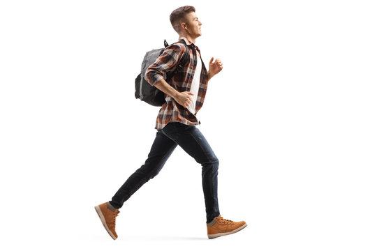 Male teen student running