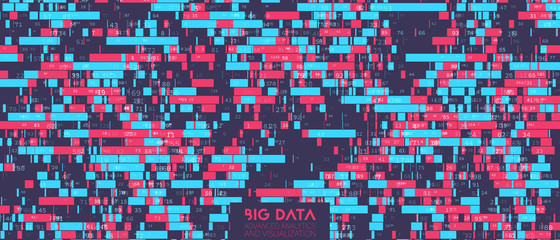 Fotoväggar - Big data colorful visualization. Futuristic infographic. Information aesthetic design. Visual DNA data complexity. Complex data threads graphic visualization. Social network, abstract data graph.