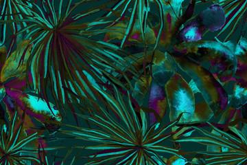 Wall Murals Botanical Tropical Seamless Pattern.