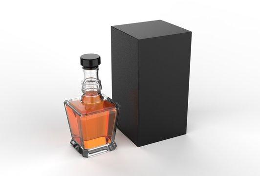 Whisky bottle with paper box packaging for branding. 3d render illustration.
