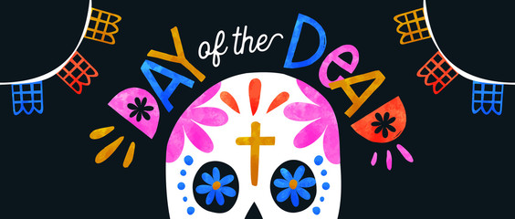 Fotorolgordijn Aquarel schedel Day of the dead colorful sugar skull banner