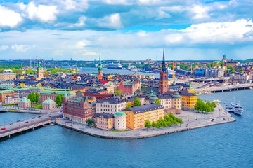 In de dag Stockholm Stockholm Old Town (Gamla Stan) aerial panorama from City Hall, Sweden