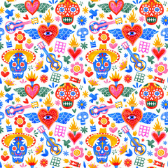 Tuinposter Aquarel schedel Day of the dead mexican icons seamless pattern