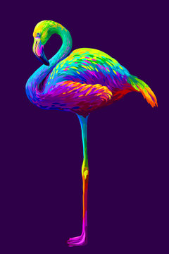 Flamingo. Abstract, artistic, multi-colored image of a flamingo on a dark purple background in pop art style.