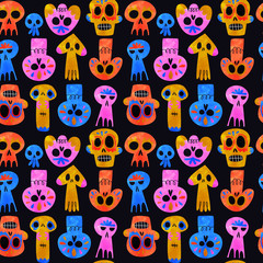 Day of the dead watercolor skull seamless pattern