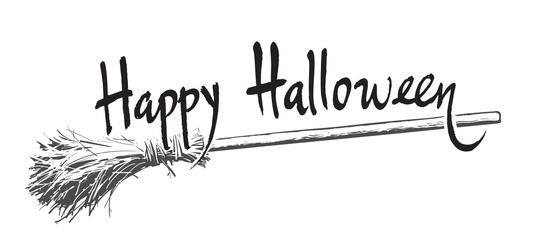 Happy halloween hand drawn lettering and old magic broomstick. Vector illustration isolated on white background.