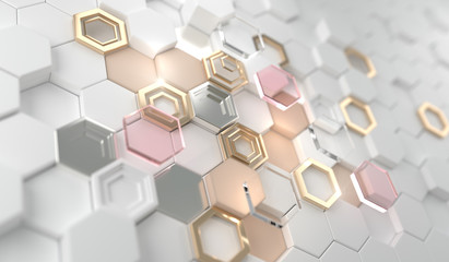 Gold shiny glowing hexagon on the white hexagon.Golden luxury line border for invitation, card, sale, fashion, photo etc. wedding,Beauty products.3d Rendering.