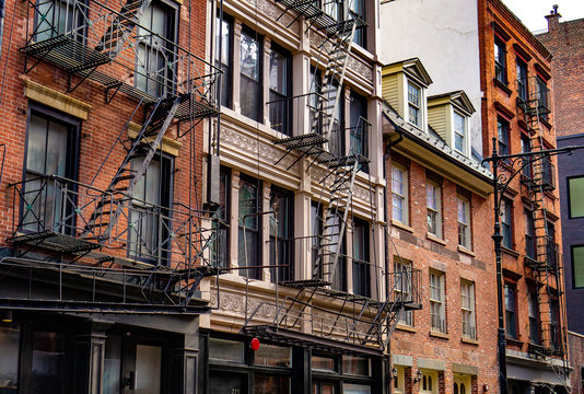 New York City East village buildings with fire escapes