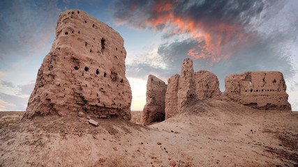 Ruins of ancient Ayaz-Kala Fortress in the Kyzylkum desert, Karakalpakstan, Uzbekistan, Central Asia