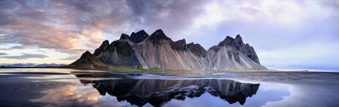 Sand dunes on the Stokksnes on southeastern Icelandic coast with Vestrahorn (Batman Mountain). Iceland, Europe.
