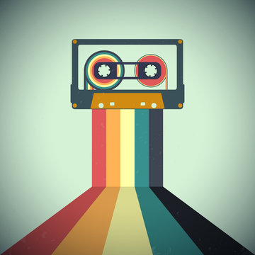 Cassettes music retro style. Vector illustration