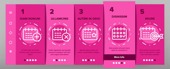 Schedule Onboarding Mobile App Page Screen Vector Thin Line. Calendar With Clock And Human, Heart And Bell, Dollar And Gear Mark Schedule Concept Linear Pictograms. Contour Illustrations