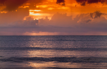 Colorful tropical seascape with clouds ans ocean