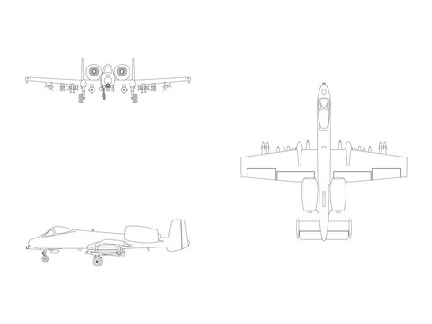Vector line illustration of a combat fighter airplane isolated on white